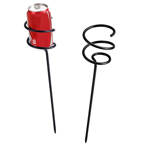 MyGift Set of 2 Black Metal Spiral Beer & Soda Can Holder Stakes, Outdoor Picnic Beverage Accessories by MyGift