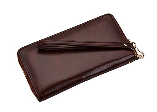 Simpacx Leather Rfid Purse Blocking Womens Geunine Wallet Card Wax Credit Coffee Clutch r1txrqZ