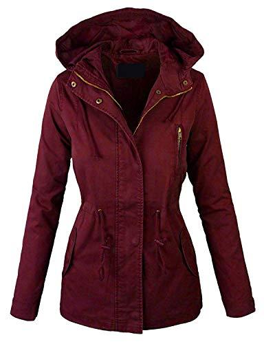 Lock and Love LL Women Military Anorak Safari Hoodie Jacket XXL Burgundy