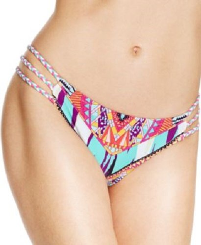 Jessica Simpson Women's Starburst Side Braid Hipster Bikini Bottom, Black/Multi, Large - Jessica Simpson Braid