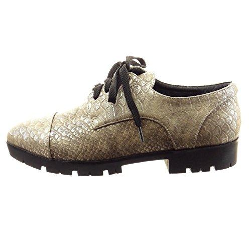 Hot Sale Sopily Chaussure Mode Derbies Cheville Femmes Peau De