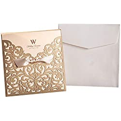 "Graces Dawn 50pcs Laser-cut Lace Flower Pattern Wedding Invitations Cards(set of 50pcs) and Blank Cards and Envelopes 6 x 6"" - Value Pack (Champagne Gold)"