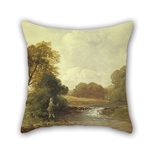 TonyLegner 16 X 16 inches / 40 40 cm Oil Painting William Jones - Fishing- Playing A Fish Throw Cushion Covers Twin Sides is Fit Living Room Saloon Wedding Adults Bedroom Him