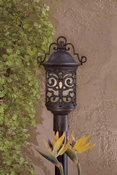 Minka Great Outdoors 9195-189-PL Chelesa Road - One Light Outdoor Post Mount, Chelesa Bronze Finish with French Scavo Glass ()