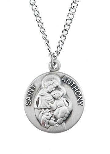 Sterling Silver Saint St Anthony Dime Size Medal Pendant  3 4 Inch
