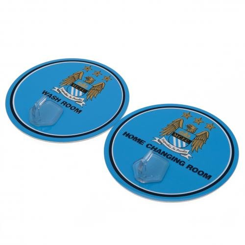 Pack Of 2 Manchester City Signs With Hanging Hooks by Manchester City F.C.