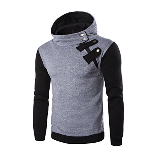 iYBUIA Personality Men's Long Sleeve Button Hoodie Hooded Sweatshirt Tops Jacket Coat Outwear(Gray,L) -