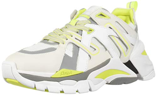 Ash Women's AS-Flash Sneaker White/Fluo Yellow 39 M EU (9 - Fluo Yellow Footwear