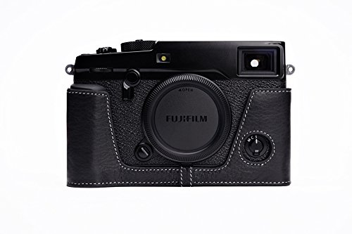 Handmade Genuine real Leather Half Camera Case bag cover for Fuji X-Pro 2 Fujifilm X-Pro2 Bottom opening Version - Black by Hwota