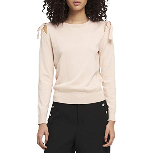 Dkny Cable - DKNY Womens Cut-Out Long Sleeves Crewneck Sweater Pink L