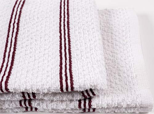KAF Home Pantry Piedmont Kitchen Towels (Set of 8, 16x26 inches), 100% Cotton, Ultra Absorbent Terry Towels - Wine Red by KAF Home (Image #3)