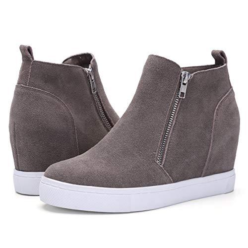 Athlefit Women's Hidden Wedge Sneakers Platform Booties Casual Shoes Size 6.5 Brown
