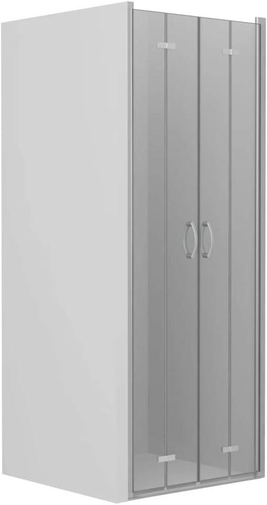 vidaXL Mampara Ducha Frontal 2 Puertas Plegables Cristal Seguridad ...
