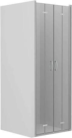 vidaXL Mampara Ducha Frontal 2 Puertas Plegables Cristal Seguridad Vidrio Templado ESG Aluminio Cabina Baño Transparente Cierre Plato Bañera 80x185 cm: Amazon.es: Hogar