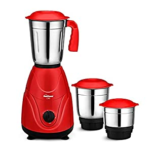 SUNFLAME UNO 550W Mixer Grinder with 3 Jars, Red