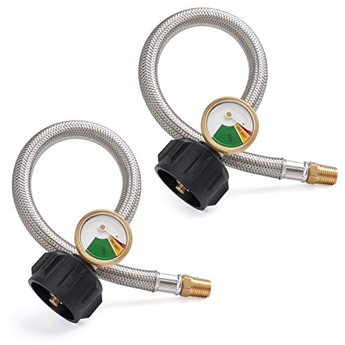 SHINESTAR 12-inch 1/4inch NPT RV Propane Hose with Gauge, Stainless Steel Braided RV Pigtail Hose Connector for Standard Two-Stage Regulator with 1/4inch Male NPT, 2 Pack (Propane Bulk Hose)
