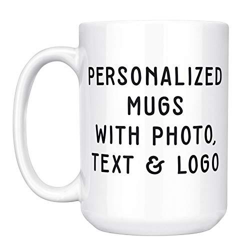 Custom Mugs w Photo and Text - 15 oz. Customized Large Coffee Mug - Add Photo