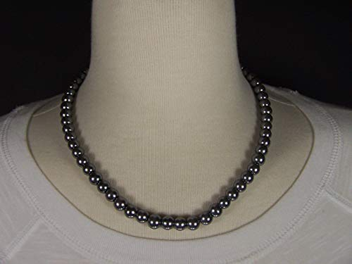 (Grey Gray faux pearl necklace 7mm bead beaded necklace choker 16-17.5 long)