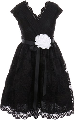 Flower Girl Dress Curly V-Neck Rose Embroidery AllOver for Big Girl Black 14 JKS.2066 -