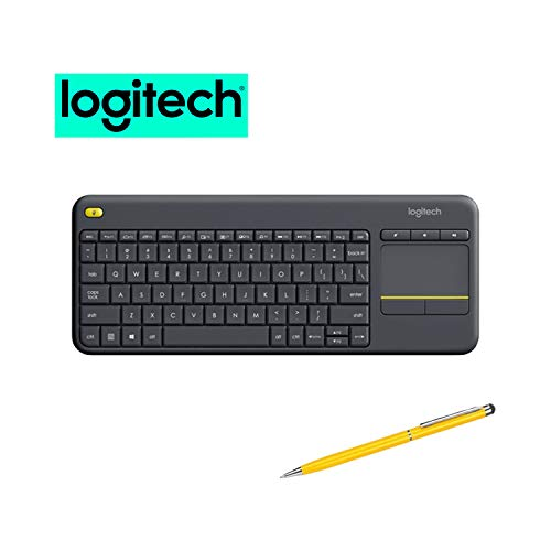 Logitech Wireless Touch TV Keyboard K400 Plus for Computers Laptops with Touchpad Bundle (1-Pack + Stylus)