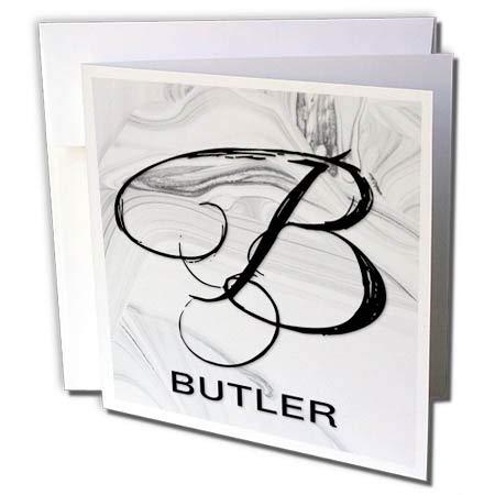 3dRose BrooklynMeme Monograms - White Marble Monogram B Butler - 1 Greeting Card with Envelope ()
