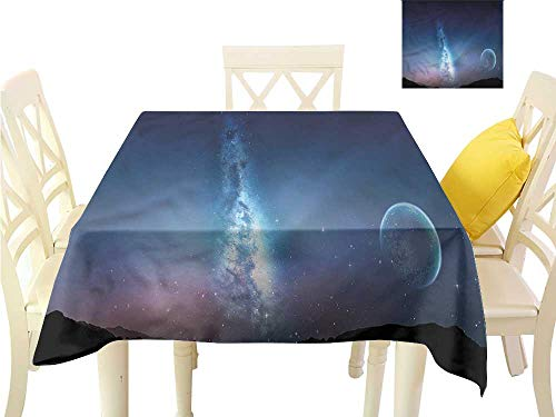 WilliamsDecor Picnic Cloth Space,Nebula Gas Cloud with Moon Dining Table Cover W 50