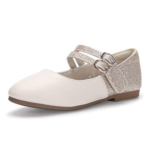 PANDANINJIA Girl's Dress Shoes,Toddler/Little Kid Girls Mary Jane Ballet Flats Wedding Party School Uniform Dress Shoes,Gold Glitter,Daisy