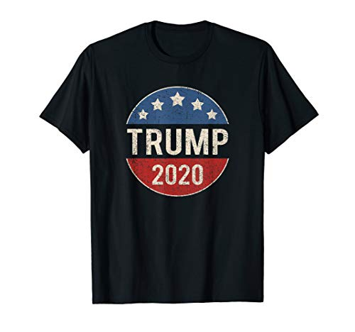 - Donald Trump 2020 Retro Button Vintage Patriotic July 4th T-Shirt