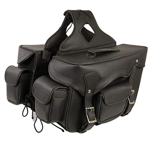 Milwaukee Leather SH66602-BLK-PCS Black Plain Saddle Bag (12X9X6X17) - Leather Studded Saddlebags