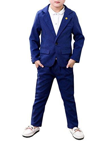 YUFAN Boys Blue Purple 2 Colors Suit Set 2 Pieces Blazer and Pants Set Quality (8, Blue) Quality Boys Suits