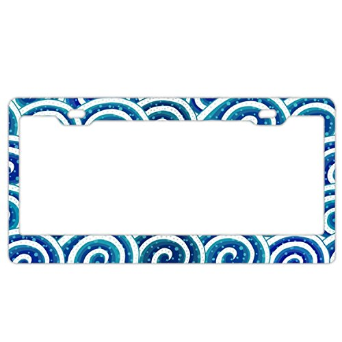 EXMENI Sea Waves License Plate Frame Theft-Proof Frames Stainless Steel Board ()