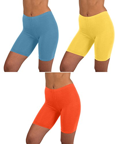 (Sexy Basics Womens 3 Pack Active Dance Running Yoga Bike - Boy Short Boxer Briefs (2XL/9, 3 PK-Niagra/Primrose Yellow/Flame))