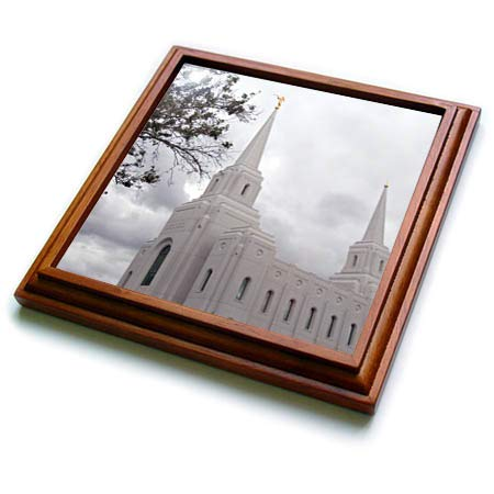 3dRose Jos Fauxtographee- Brigham Temple - The Church of Jesus Christ Temple in Brigham City Utah - 8x8 Trivet with 6x6 ceramic tile (trv_317921_1)