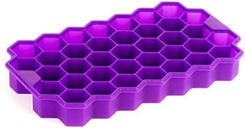 Silicone Ice Cube Tray Deeer - 37 pcs Cute Hex Shape Ice Brick Maker (Purple)