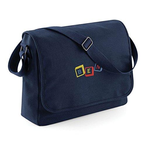 Personalizado Lienzo Baby Boy/Girl Travel Bolsa de Pañales Cambiador 2colores Navy Bag - Red, Yellow, Blue Embroidery Navy Bag - Red, Yellow, Blue Embroidery