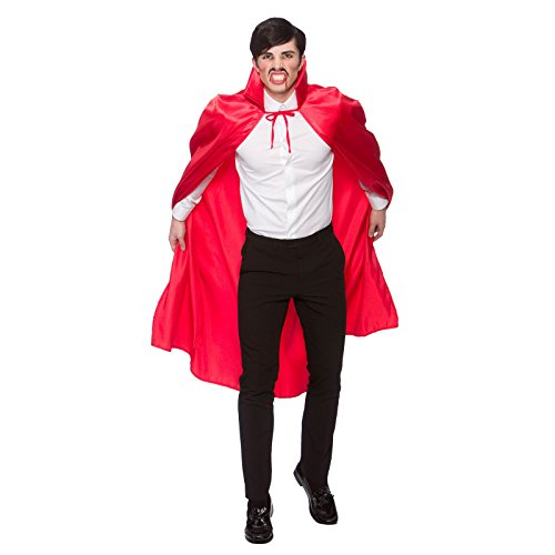 Adult Hooded Satin Cape Red Fancy Dress Halloween Vampire Super Wizard Witch