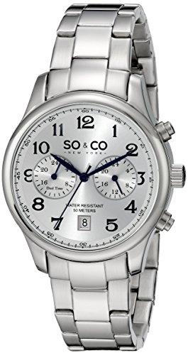 SO&CO New York Men's 5031.1 Monticello Quartz GMT Date Stainless Steel Link Bracelet Watch