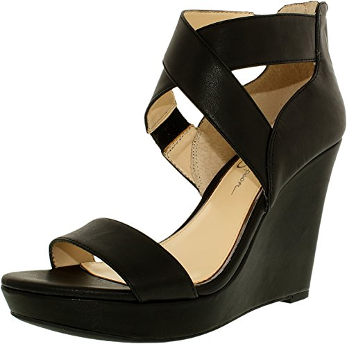 Open Simpson Platforms Jessica Toe (Jessica Simpson Womens Jamilee Open Toe Casual Platform Sandals, Black, Size 8.0)