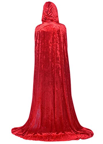 Hooded Cloak Full Long Velvet Cape for Halloween Cosplay Costume Cloak Red 07RM -