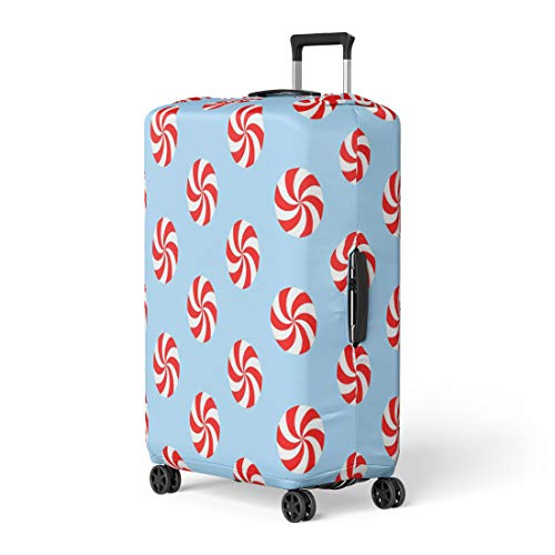 Pinbeam Luggage Cover Christmas Peppermints Candy Pattern Red and White Swirls Travel Suitcase Cover Protector Baggage Case Fits 26-28 inches