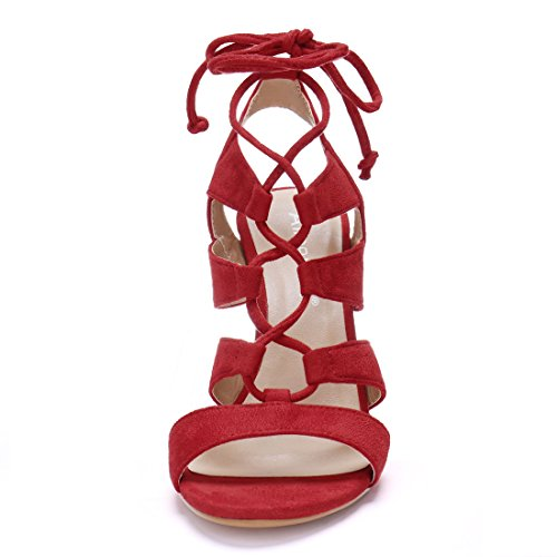 Allegra K Womens Cutout Lace Up Stiletto Sandals Red LPUUY
