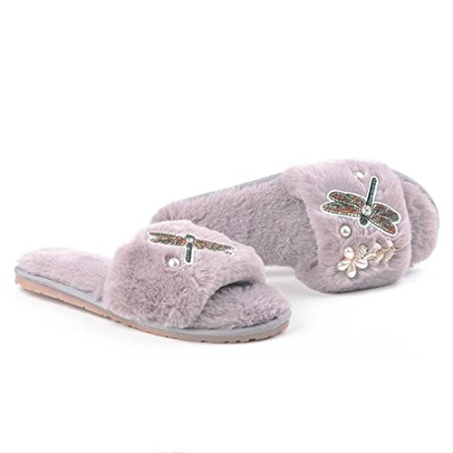 GIY Womens Winter Warm Slippers Fur Indoor Slippers For Women Fashion Cozy Plush Non-slip House Slippers Gray 80PkkMp