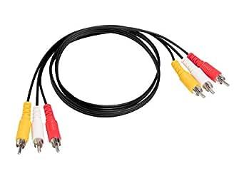 SatelliteSale - Cable de audio y vídeo RCA de 3 macho a 3 machos para conectar tu VCR, DVD, HDTV y otros equipos de audio y vídeo de cine en casa (1,8 m)