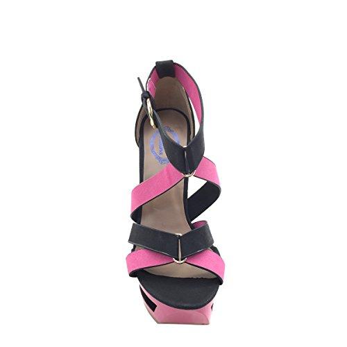 Nya Brieten Kvinna Ankelbandet Ihåliga Plattform Med Hög Klack Sandaler Black & Pink