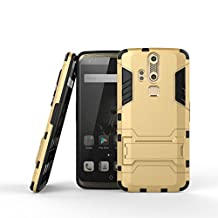 Qiaogle Phone Case - Shock Proof PC Hybrid Armor Stents Case Cover for ZTE Axon Phone / ZTE A2015 (5.5 inch) - HK03 / Gold