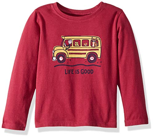 Life is Good Longsleeve Toddler Tee School Bus Friend Athletic T Shirts, Wild Cherry, 3T (Toddler Tee School)