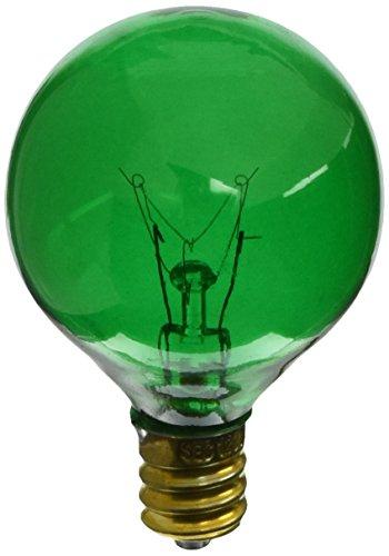 Satco S3835 10 Watt G12.5 Incandescent 120 Volt Candelabra Base Light Bulb, Transparent Green