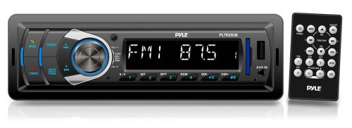 Pyle PLTR25UB Bluetooth in-Dash Receiver Headunit with USB/SD Card Readers, MP3/AUX-Input, DC 12-24V Dual Voltage Compatible