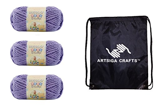 Bernat Knitting Yarn Baby Blanket (3-Pack) Lilac 161103-03320 Bundle with 1 Artsiga Crafts Project Bag ()