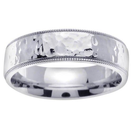 14k Gold Mens Comfort-Fit Hammered Wedding Ring (7mm)
